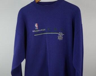 ab5504c8634 Vintage Puma NBA Milwaukee Bucks Sweatshirt Embroidered Logo Purple Sz  Men s XL