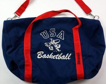 02f505806b80 Vintage USA Basketball Gym Bag Duffle Bag Navy Blue Red 22x12x14