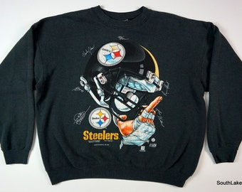 1216fcc8f Men s Vintage PITTSBURGH STEELERS Crewneck Sweatshirt Black Helmet  Signatures XL nfl football