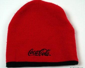Vintage Knit Coca Cola Knit Ski Outdoor Winter Beanie Hat Cap Red Black  Spellout 69b65c9537dd