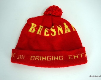 661393d0fb1 VTG 80s Bresnan Communications Cable Company Beanie Pom Knit Winter Hat Rare