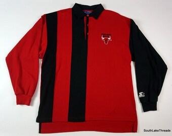 01249b6a459 Vintage 90s Men's NBA Chicago Bulls Starter Long Sleeve Polo Shirt Two Tone  XL 90s Fashion Rare Style