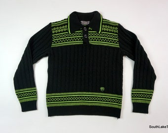 d55f1712 Vintage Men's Arctic Cat Collared Sweater Snowmobile Sweater Black Green Sz  Large Snowmoblies 1970s Rare