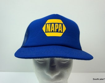 8eaca2cfd2e NAPA Auto Parts VTG Snapback Hat Trucker Blue Yellow The Louisville Line  OSFA