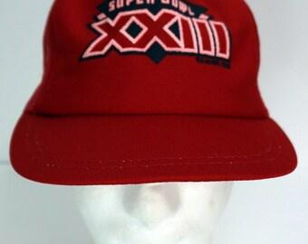 914b889691e Vintage 80s 1988 Super Bowl XXIII Snapback Cap Hat NFL Football 49ers  Montana