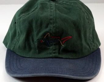 Greg Norman Collection Strapback Dad Golf Hat The Shark Logo Cap Navy Green  OSFA 86f4b24cdc01
