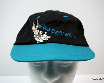 fbec362f7ce Vintage 90s Looney Tunes Bugs Bunny Whatever Spell Out Strapback Hat Cap  Black