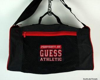bece9ca098 Vintage Guess Athletic Duffel Bag Gym Bag Spellout Designer Rare Black Red  18