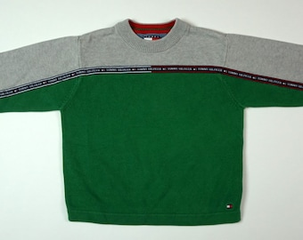 2366814c0 Vintage Boys Tommy Hilfiger Sweater Pullover Spellout Logo Flag Kids Size 5
