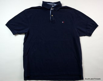 7c23e024 VTG 90s Men's Tommy Hilfiger Flag Navy Blue Polo Shirt Sz LARGE 90s Fashion  Tommy Jean Vintage Tommy