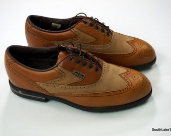 ce4981da18adf5 VTG Footjoy Men s DryJoy Vintage Wingtips Sympatex Golf Shoes Brown Size 9.5