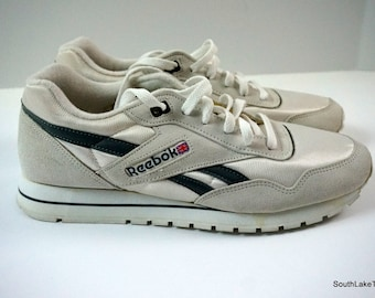 Vintage Reebok Classic Nylon White Grey 10 US 9.5 UK 44 EU Men s Running  Shoes 98f593137