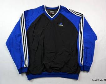 6f1247cc34d Vintage 90s Adidas Windbreaker Pullover Men s XL Extra Large Blue   Black  Vintage Adidas Three Stripe 3 Stripe Royal Blue 90s Fashion Soccer