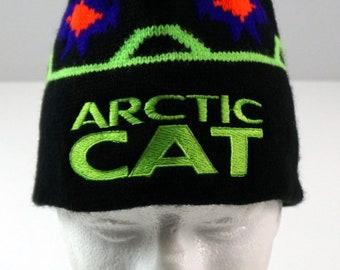 Vintage 80s 90s Arctic Cat Snowmobile Winter Stocking Hat Cap EUC aa23d1889abb