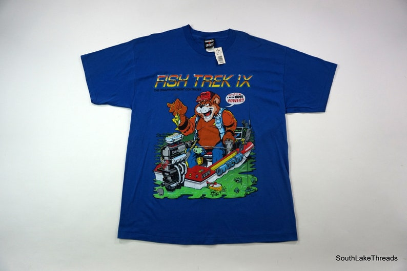 Vintage New Deadstock FISH TREK IX Star Trek Humor T-Shirt Nwt image 0