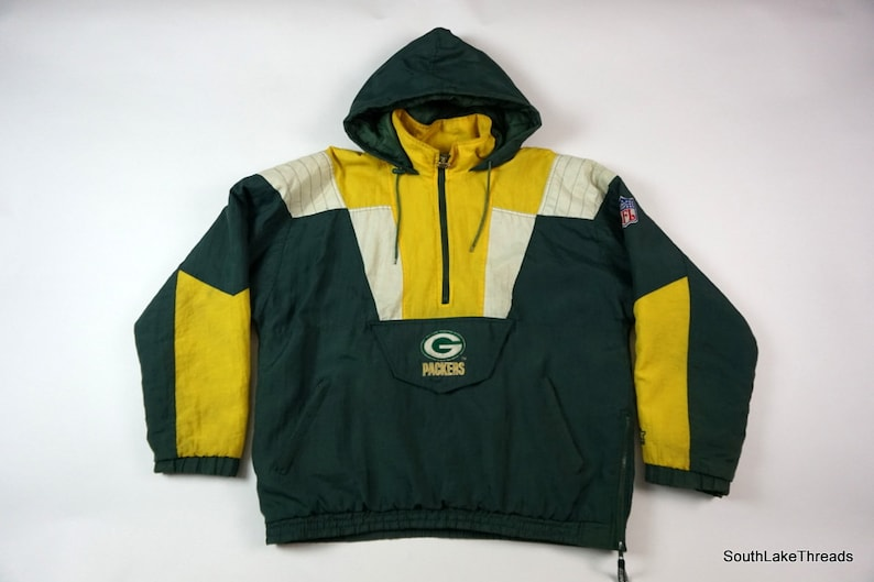 416e30a9 Vintage Green Bay Packers Starter Winter Jacket Boys XL, 1/2 Zip, NFL Pro  Line, Vintage Packers Jacket, Hooded, NFL Football Pullover