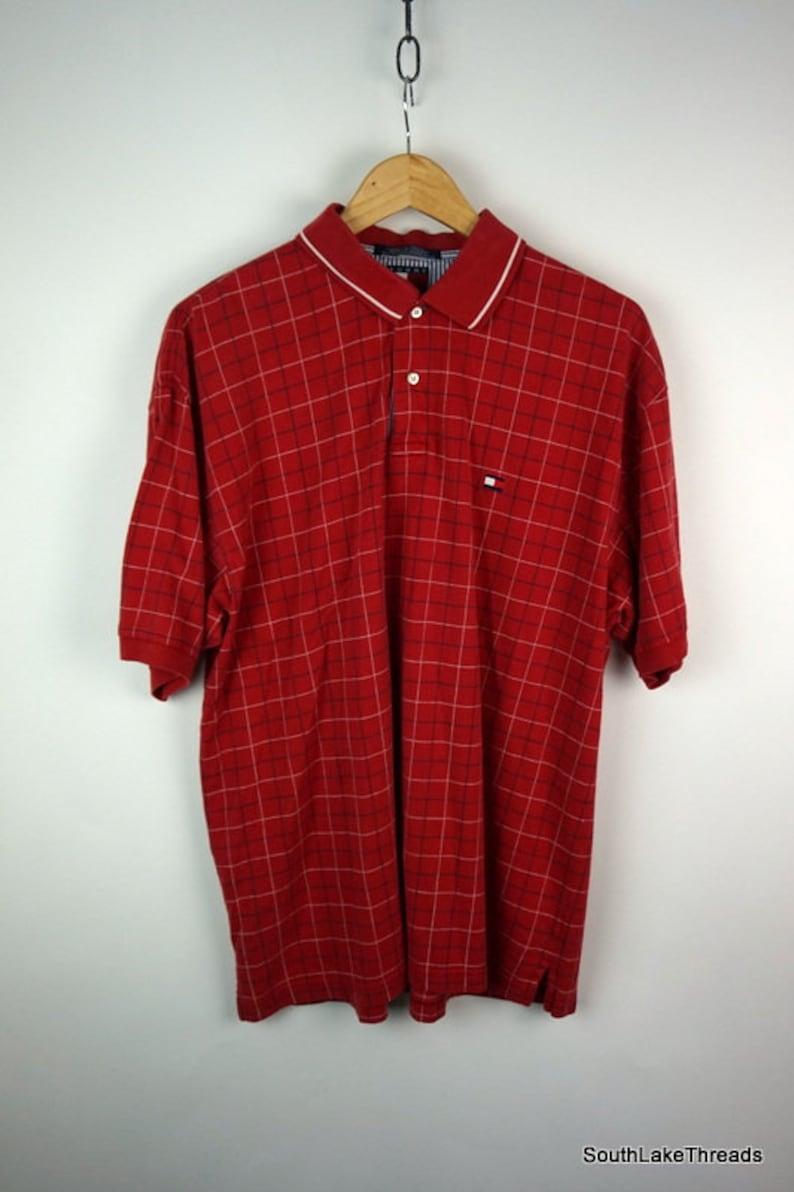 Vintage 90s Tommy HilfigerPlaid  Polo Shirt Men's Large L image 0