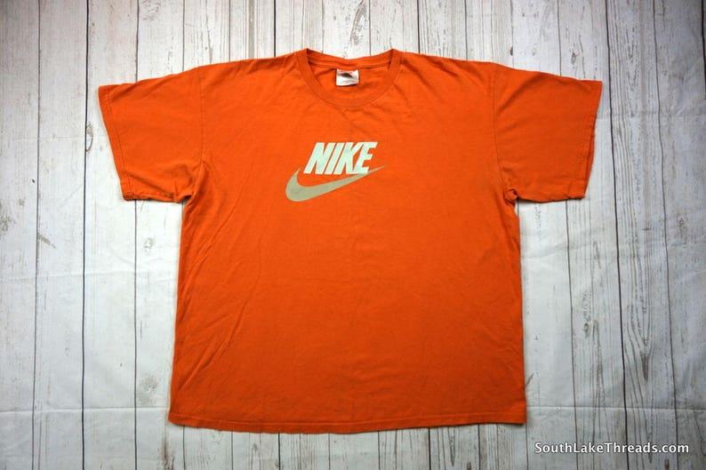 9a355899408ba Vintage 90s Nike T-Shirt, Nike Script T-Shirt, Men's XL, Extra Large,  Orange & Teal Script Nike Logo, Embroidered Logo, 90s Fashion