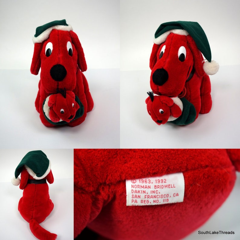 Vtg 1992 Dakin Christmas Clifford Big Red Dog Baby Dog Plush image 0