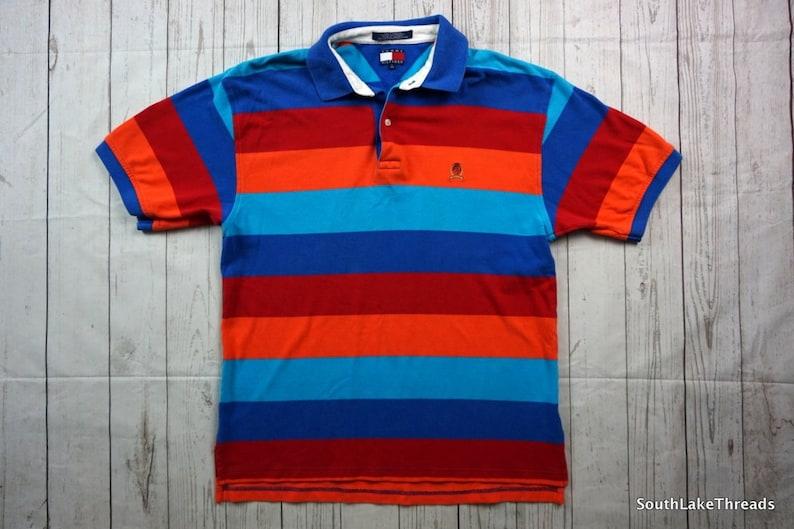 5483f6d3b Vintage 90s Tommy Hilfiger Multi Color Polo Shirt Men's | Etsy