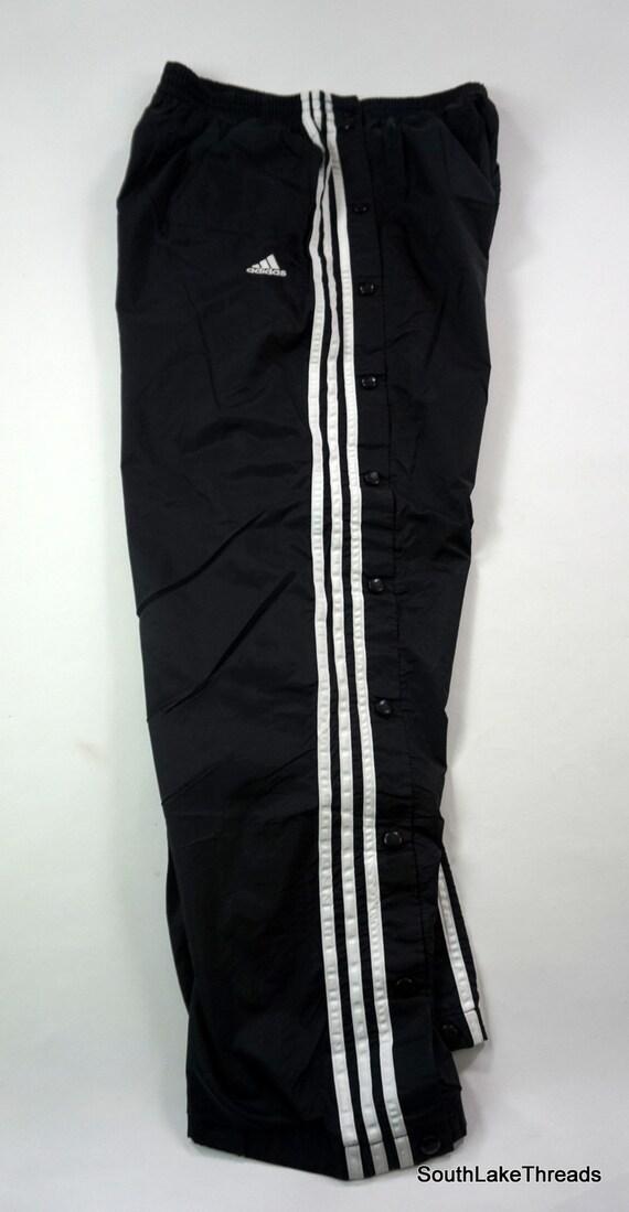 VTG Adidas Lined Wind Pants Men's XL Black White 3 Stripe Breakaway Snap Track Pants Vintage