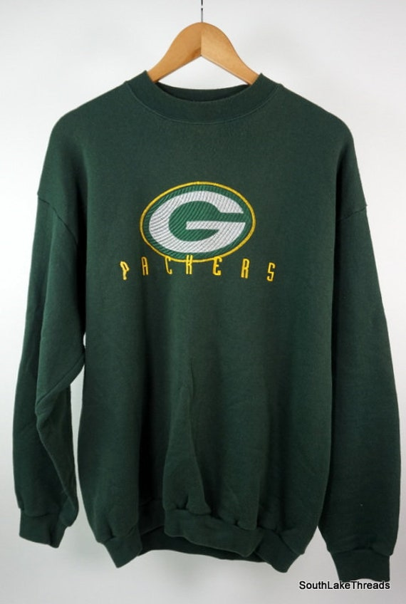 new products eb423 ecc2c VTG NFL Green Bay Packers Sweatshirt Embroidered Spiral Patch Logo Men's  Large Logo Athletic