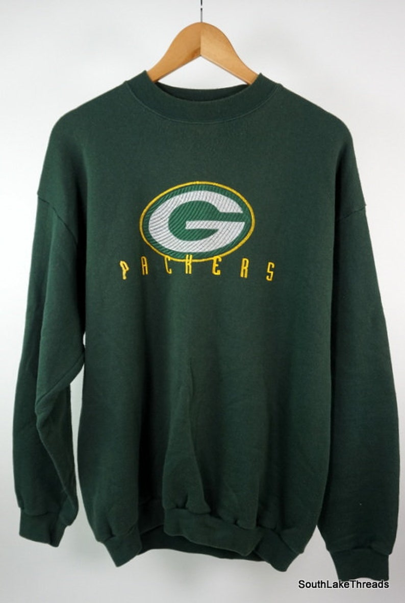 VTG NFL Green Bay Packers Sweatshirt Embroidered Spiral Patch image 0
