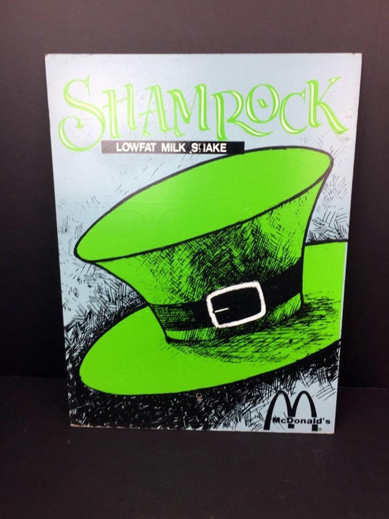 Vintage Mcdonald's Shamrock Shake Sign Masonite 24 x image 0