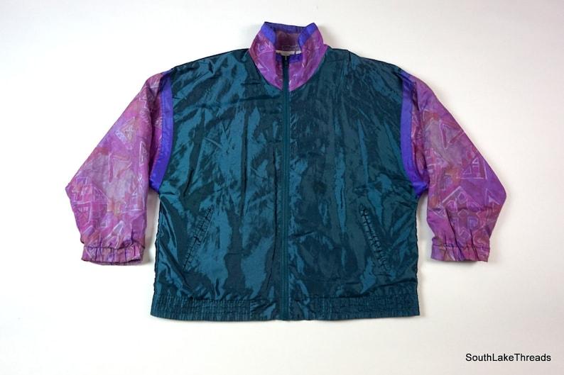 Coupe vent Track vintage des années 80 Wilson femmes veste violet turquoise Sz grand