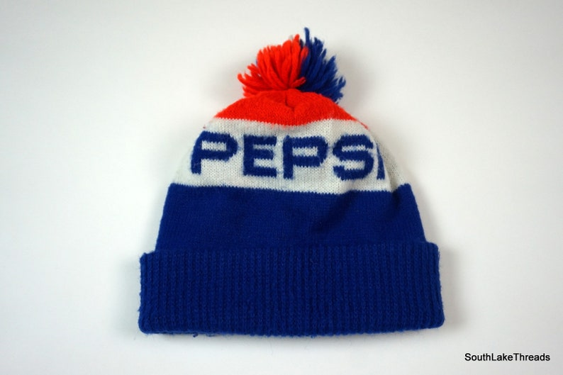 242f5d64501 Vintage Pepsi Cola Knit Pom Beanie Winter Ski Hat Stocking Cap