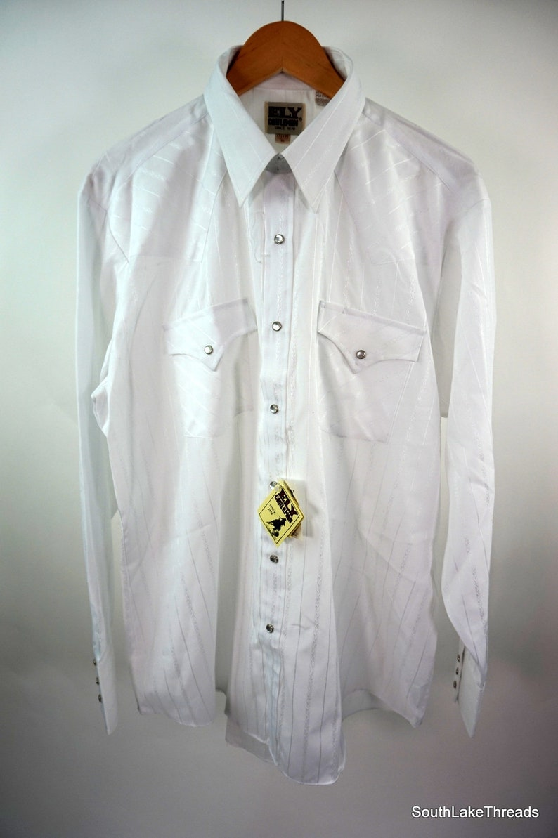 VTG Ely Cattleman Western Pearl Snap Button Front Shirt White Men/'s Large NEW!