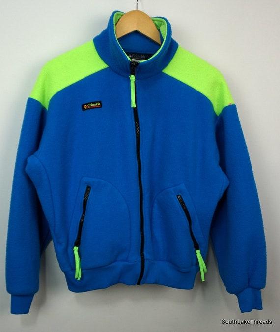 Polaire grand néon couleur bleu jaune bloc des années 80   Etsy a7975955ac8f