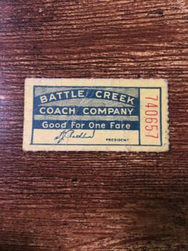Vintage 1950's Battle Creek Coach Company Ticket Michigan image 0