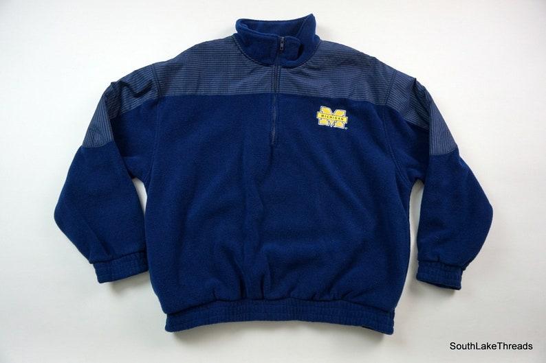 VTG Michigan Wolverines Fleece Jacket 1/4 Zip Pullover Logo image 0