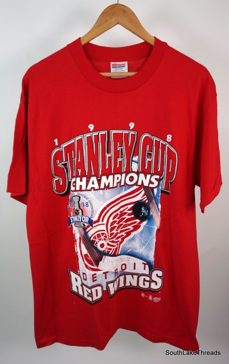 VTG 1998 Detroit Red Wings Stanley Cup Champs T-Shirt Adult image 0