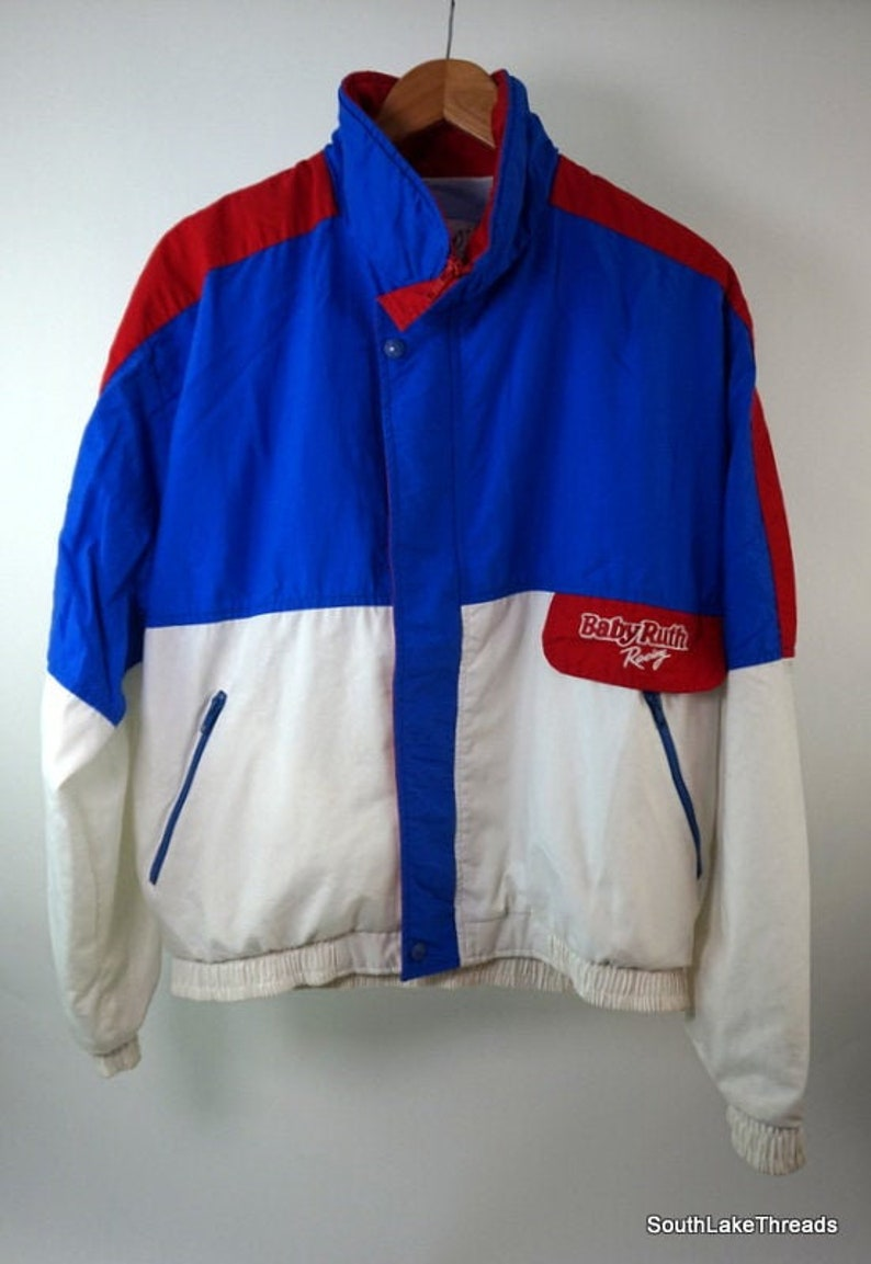 VTG Baby Ruth Racing Jacket Lined Tec Designs White Red Blue image 0