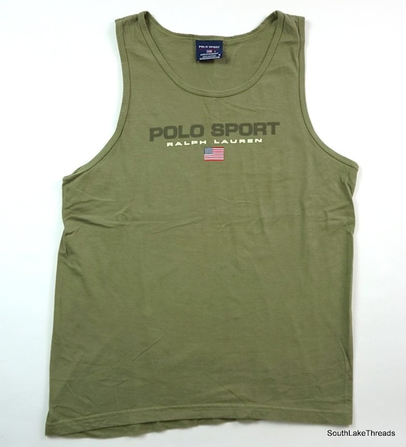 Vintage Polo Sport Ralph Lauren Spell Out Flag Logo Tank Top  a14fea9dce632