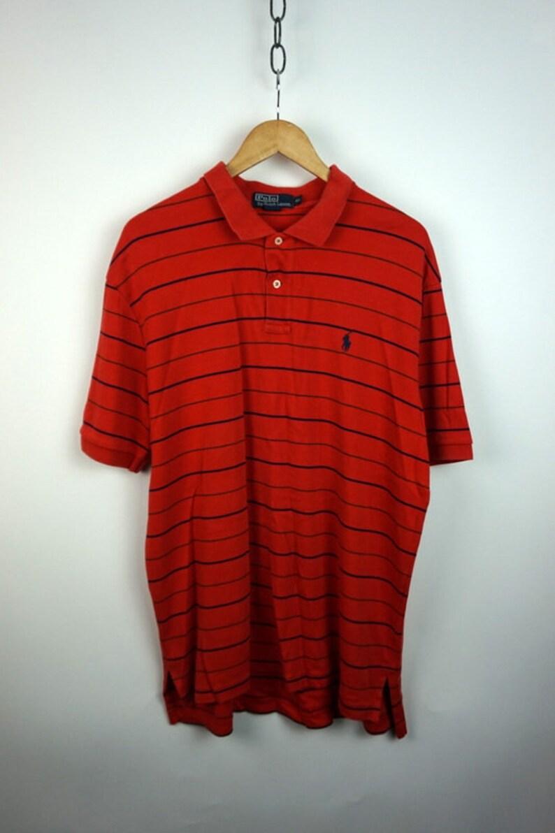 d861ec9bbb4b2a Vintage 90s Polo Ralph Lauren Orange Navy Blue Striped Polo | Etsy