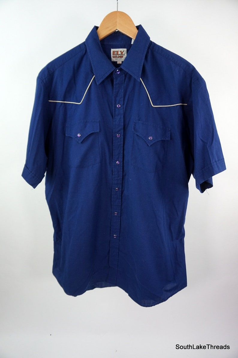 VTG Ely Cattleman Western Pearl Snap Button Shirt White image 0