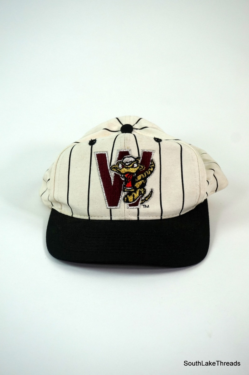 Vintage 90s Wisconsin Timber Rattlers Pin Stripe Snapback Hat image 0