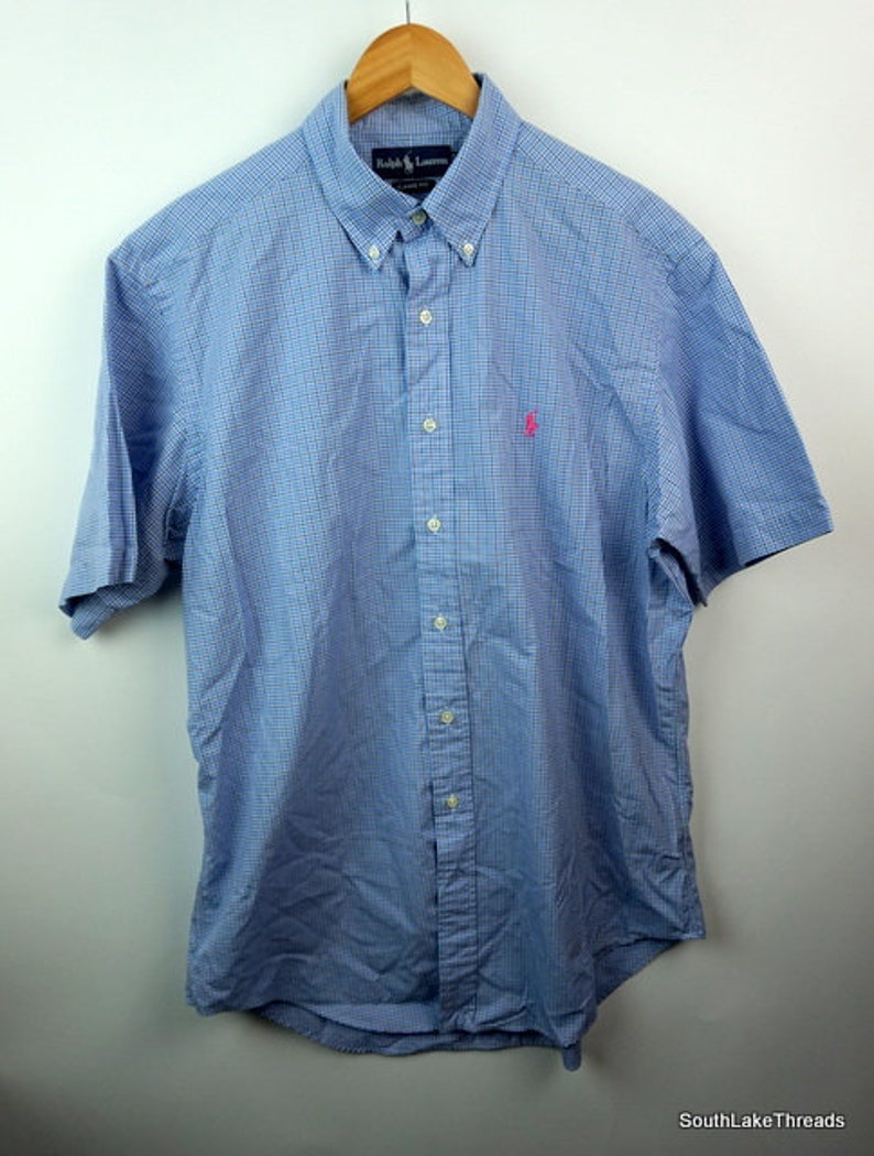 d0a9feb48a122 Vintage Polo Ralph Lauren s s bouton vers le bas grand bleu