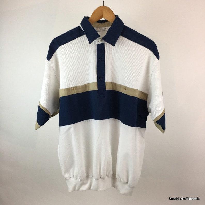 Vintage Classics by Palmland Men's Large White Navy Blue image 0