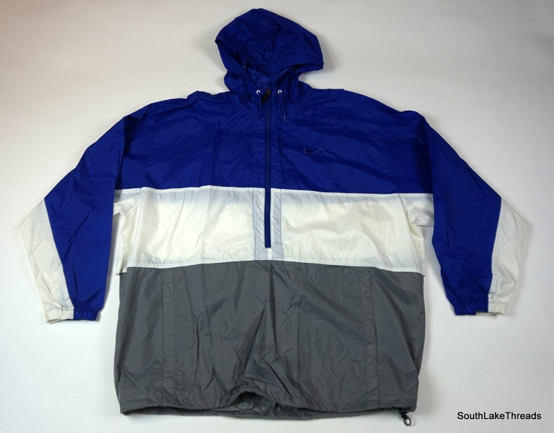 VINTAGE 90S NIKE Windbreaker Full Zip Jacket Men's XL Dark