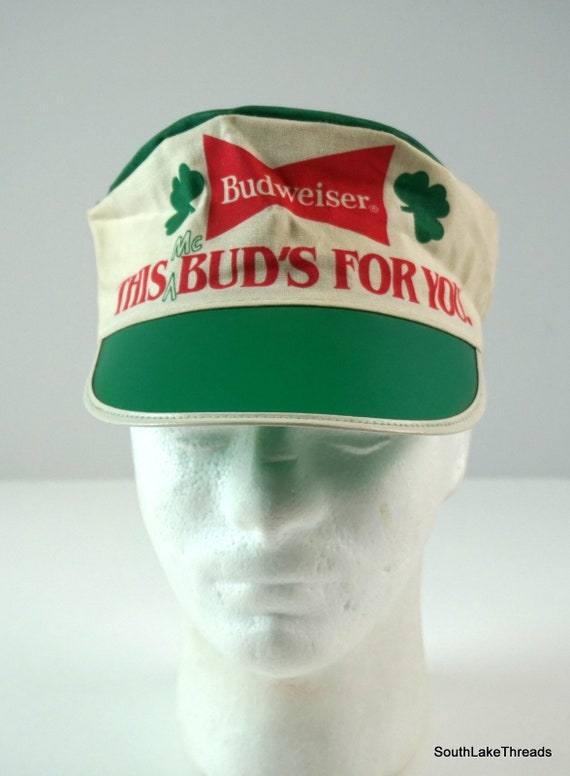 bc147c9a7 Vintage 80s Budweiser Painters Hat St Patrick's Cap Hat Beer McBud Adult  OSFA