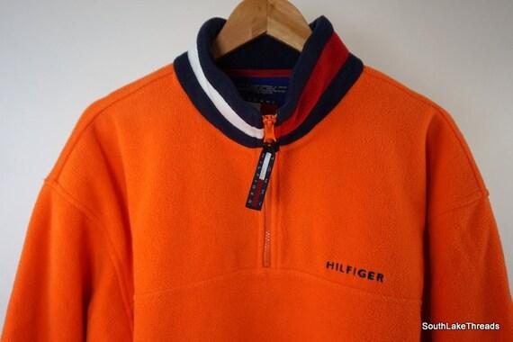 exzellente Qualität süß ein paar Tage entfernt Vintage Tommy Hilfiger 1/4 Zip Fleece Pullover Orange Sz Men's Medium Flag  Logo Collar Rare