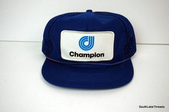 Vintage Champion Patch Logo Trucker Snapback Hat Blue   White  5ab34473c9f