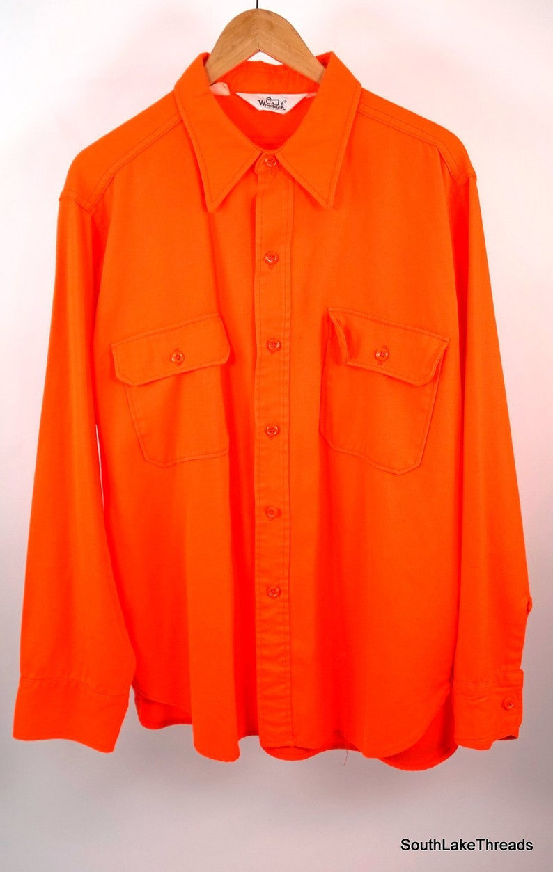 Vintage Men's Woolrich Hunters Orange L/S Button Front image 0