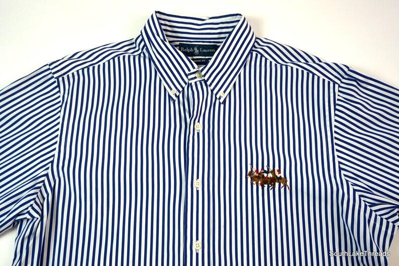 Men's VTG Polo Ralph Lauren L/S Button Down Striped Big image 0