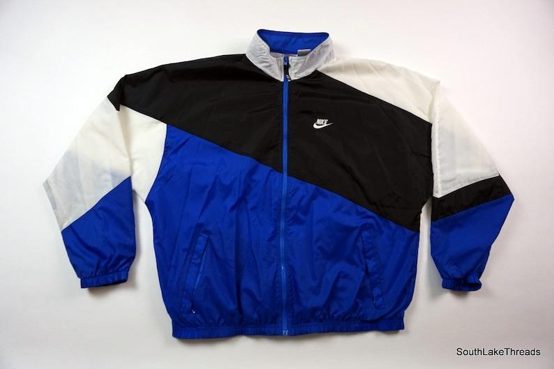 e4c240ef41ff3 Vintage 80s Nike Colorblock Windbreaker Royal Blue Black White Men's XL