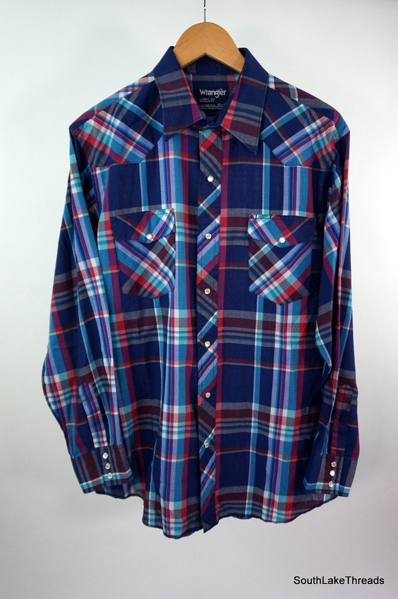 VTG Wrangler Western Pearl Snap Plaid Button Front Shirt Sz 16 image 0